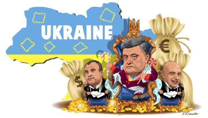 <figcaption>Ukrainian President Poroshenko and his allies Ihor Kononenko and Oleg Gladkovsky have been busy building a business empire behind the scenes.</figcaption>