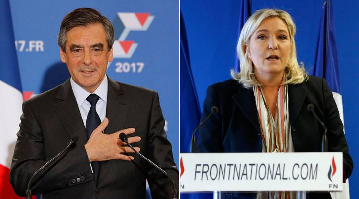 <figcaption>Francois Fillon, former French prime minister and member of Les Republicains political party (L), Marine Le Pen, France's far-right National Front political party leader (R). © Reuters</figcaption>