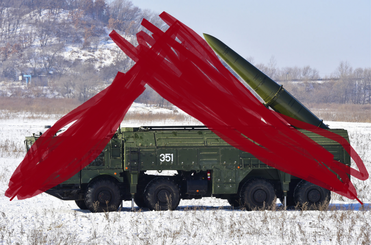 """<figcaption>A Russian Iskander system hiding under a tent in """"Eastern Europe""""</figcaption>"""