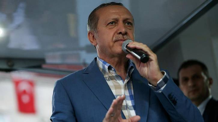 <figcaption>Turkish President Recep Erdogan told his supporters on Saturday that although he had shared with Barack Obama the intelligence on a likely coup attempt by Gulen's followers, the US President sat on it</figcaption>