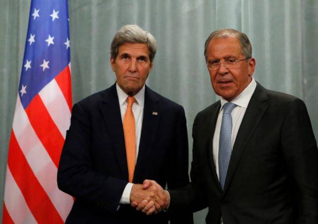 <figcaption>U.S. Secretary of State John Kerry (L) and Russian Foreign Minister Sergei Lavrov shake hands during a joint news conference following their meeting in Moscow, Russia, July 16, 2016.</figcaption>