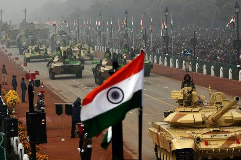 <figcaption>Indian Army's Arjun MK-I tanks (MBTs) are driven for display during the Republic Day parade in New Delhi January 26, 2014. Source: Reuters</figcaption>