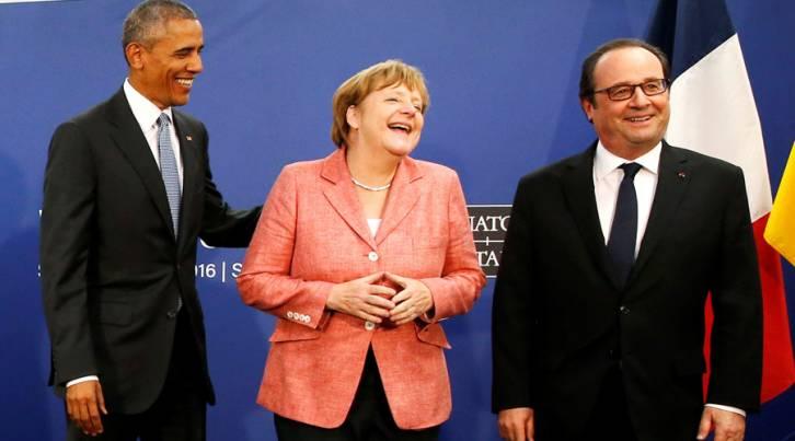 <figcaption>U.S. President Barack Obama, Germany's Chancellor Angela Merkel and France's President Francois Hollande © Jonathan Ernst / Reuters</figcaption>