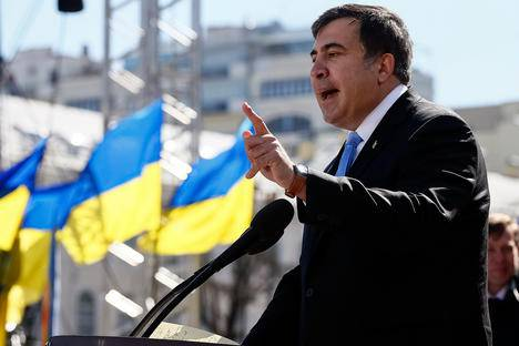 <figcaption>Former Georgian president Mikhail Saakashvili addresses members of a Batkivshchyna party during a meeting in central Kiev. Source: Reuters</figcaption>