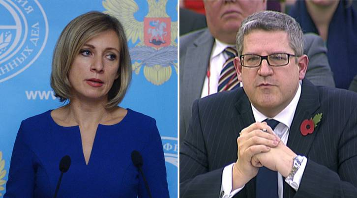 <figcaption>Russian Foreign Ministry Spokesperson Maria Zakharova (L), Andrew Parker the head of M15 (R). © Sputnik / Reuters</figcaption>