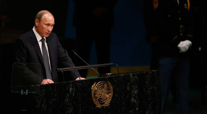 <figcaption>Russian President Vladimir Putin addresses attendees during the 70th session of the United Nations General Assembly at the U.N. Headquarters in New York, September 28, 2015. © Carlo Allegri / Reuters</figcaption>