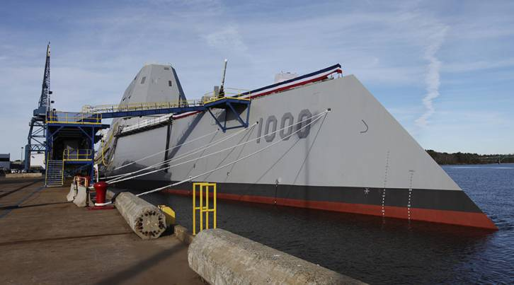 <figcaption>DDG 1000, the first of the U.S. Navy's Zumwalt Class of multi-mission guided missile destroyers. © Joel Page / Reuters</figcaption>