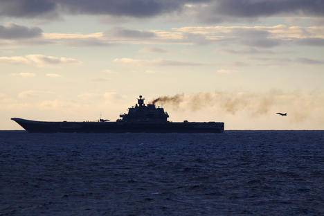 <figcaption>The Russian aircraft carrier Admiral Kuznetsov. Source: AFP/East News</figcaption>