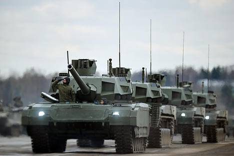 """<figcaption>Tanks """"Armata"""" of the mechanized columns of the Central Military District's Moscow Garrison during the rehearsal of the military parade to mark the 71st Anniversary of the Victory in the Great Patriotic War, at the Alabino training ground, Moscow Region. </figcaption>"""