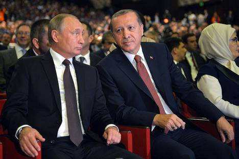 <figcaption>Russian President Vladimir Putin and Turkish President Tayyip Erdogan attend a session of the World Energy Congress in Istanbul, Turkey</figcaption>