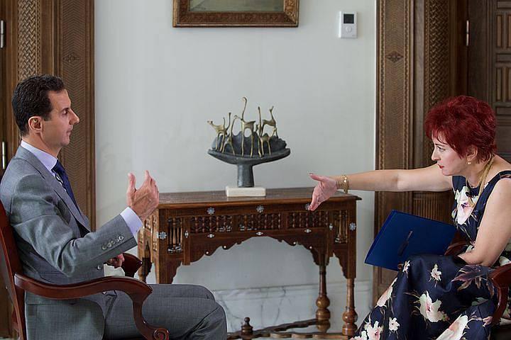 "<figcaption>President of the Syrian Arab Republic Bashar al-Assad gave an interview to reporter of ""Komsomolskaya Pravda"" Daria Aslamova.</figcaption>"