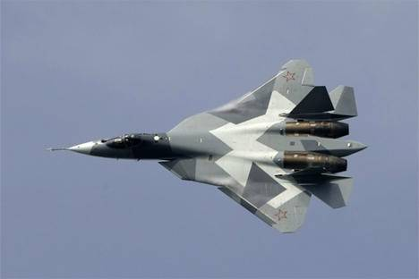 <figcaption>The T-50 fighter jet &#039;has stepped over all the requirements set to planes of this type.&#039; Source: AP Photo / Misha Japaridze</figcaption>