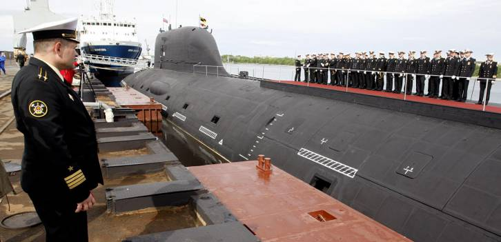 <figcaption>Yasen class nuclear attack submarine Severodvinsk being commissioned into the Russian Navy, at the Sevmash shipyard, June 2014. Source: Vladimir Larionov/TASS</figcaption>