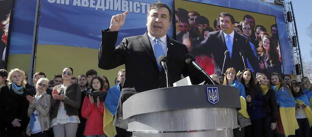 <figcaption>Former Georgian president Mikhail Saakashvili makes a speech during Yulia Tymoshenko's party congress in Kiev, Ukraine, March 29, 2014. Photo: AP</figcaption>