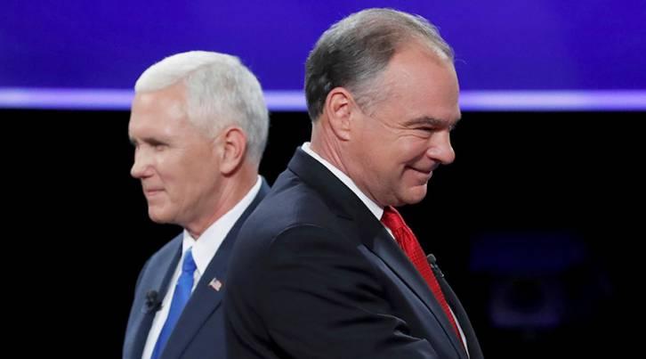 <figcaption>Democratic U.S. vice presidential nominee Senator Tim Kaine and Republican U.S. vice presidential nominee Governor Mike Pence</figcaption>