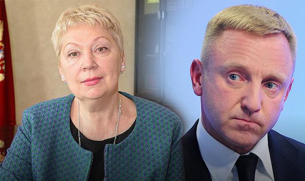 <figcaption>Olga Vasilyeva, the new conservative Education Minister and her liberal predecessor, Dmitry Livanov</figcaption>