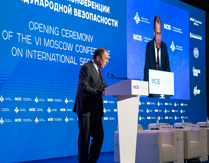 <figcaption>Lavrov warned of 'war hawks' at the Sixth Moscow Conference on International Security</figcaption>