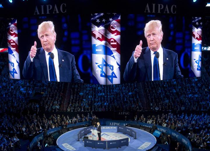 <figcaption>Trump speaks before the American Israel Public Affairs Committee</figcaption>