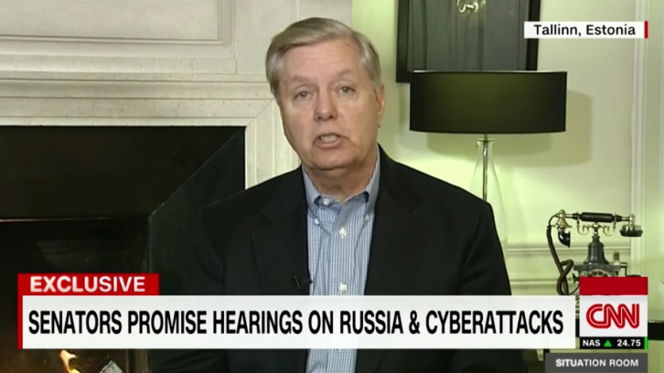 <figcaption>Lindsey Graham also volunteered to spearhead the march on Moscow. Good luck, Senator!</figcaption>
