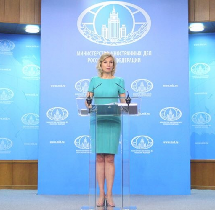 <figcaption>Zakharova says Russia believes a provocation involving a fake chemical attack is being prepared in Syria</figcaption>