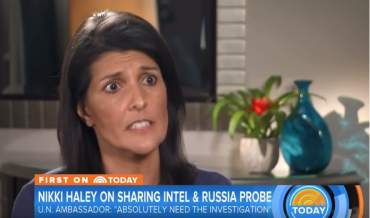 <figcaption>Nikki Haley, moments before thinking 'I miss waffles'</figcaption>