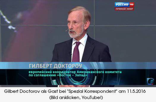 <figcaption>Doctorow appearing on the top Russian talk show &#039;Special Correspondent&#039;</figcaption>