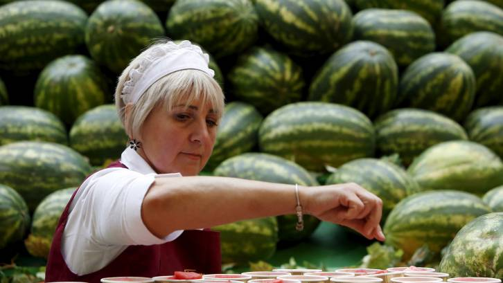 <figcaption>It's watermelon season in Russia</figcaption>