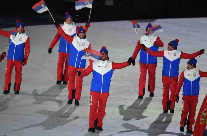 <figcaption>Serbian team reversed its flag colors for the uniform -- opting for a color order as it appears on the banned Russian flag</figcaption>