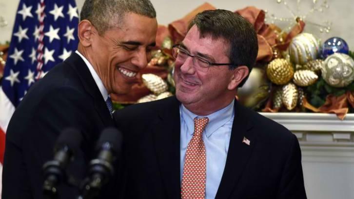 <figcaption>Obama: 'Ash, you're cracking me up' -- Carter: 'Barry, I crack *myself* up'</figcaption>
