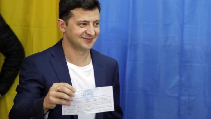<figcaption>Ukraine's president-elect Volodymyr Zelenskiy won a crushing victory in the April 21 elections</figcaption>