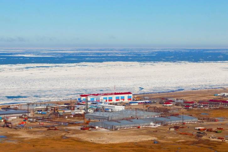 <figcaption>The field of Kharasavey on the coast of the Yamal Peninsula is one of several Russian Arctic fields located partly on land, partly offshore. Photo: Gazprom</figcaption>