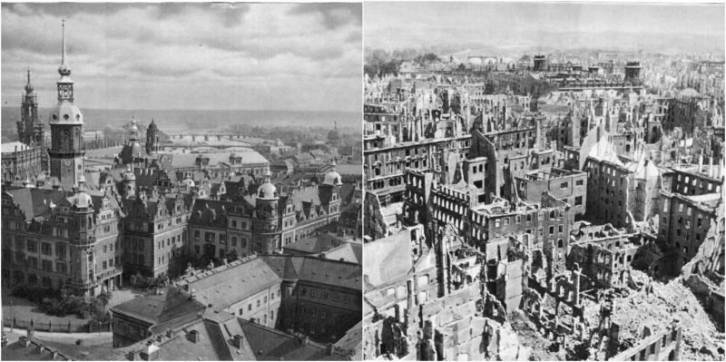 <figcaption>Dresden before and after the fire bombing of this civilian city, devoid of any military value, except for terrorizing civilians</figcaption>
