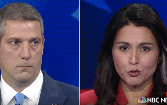 <figcaption>Tim Ryan and Tulsi Gabbard during the first night of the the Democratic debate. (YouTube/NBC News/screenshot)</figcaption>
