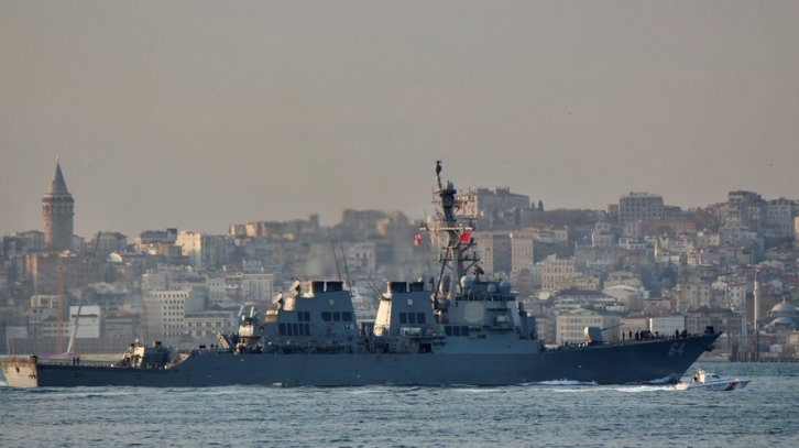 <figcaption>A US Navy destroyer passes Istanbul on its way into the Black Sea</figcaption>