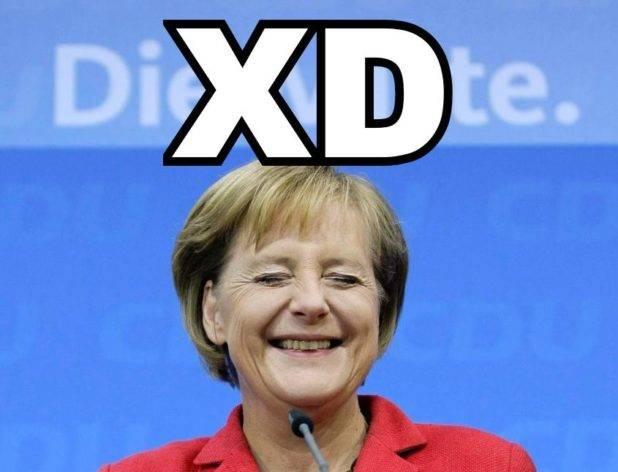 Mama Merkel Praises Self for Destroying Germany by Dumping Genetic Waste on Her People Angela-merkel-laugh-618x472