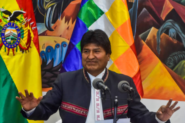 <figcaption>Bolivian President Evo Morales speaks at a press conference in La Paz, Bolivia, on Oct. 24.</figcaption>