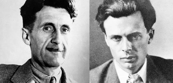 <figcaption>George Orwell (L) . . . Aldous Huxley (R) </figcaption>
