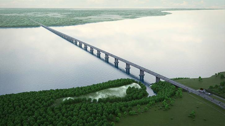 <figcaption>Rendered image of a bridge project over the Volga in Samara region. ©  The government of the Samara Region</figcaption>