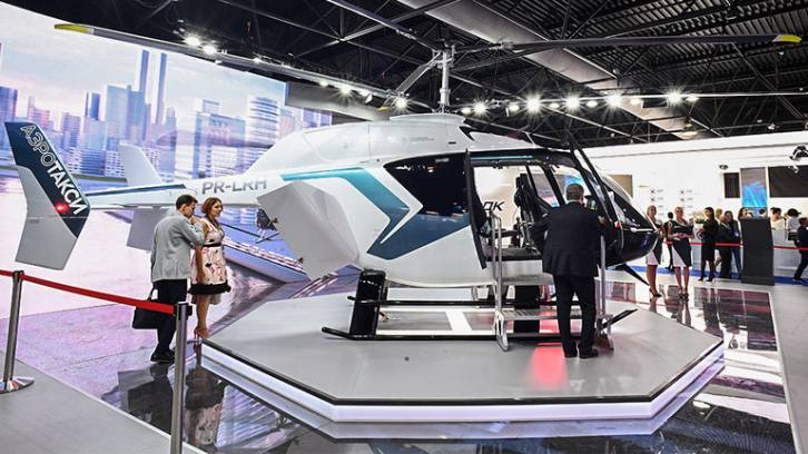 <figcaption>Russian light single-rotor helicopter VRT500 at MAKS-2019 biannual airshow in Zhukovsky, Russia © Sputnik / Ramil Sitdikov</figcaption>