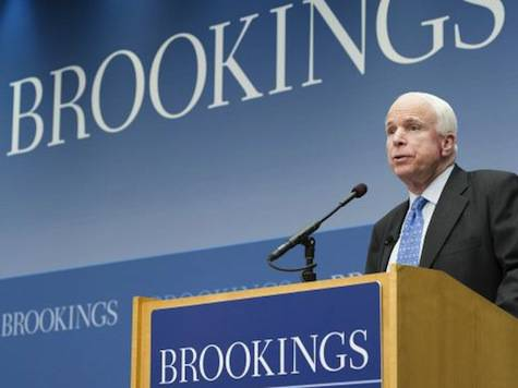 <figcaption>John McCain is frequently invited to attend Brookings panels on American foreign policy</figcaption>