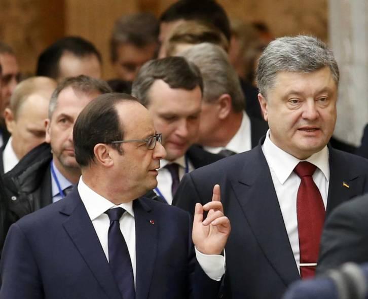 <figcaption>France's President Francois Hollande and Ukraine's President Petro Poroshenko</figcaption>