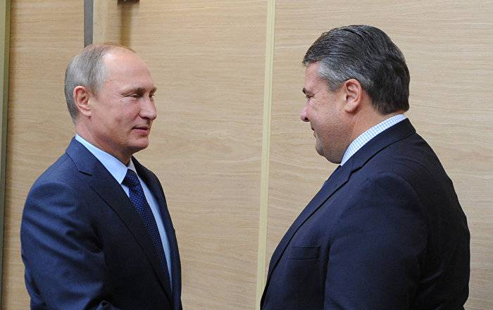 <figcaption>Putin and Gabriel consolidate their joint sovereignty vis avis the EU</figcaption>