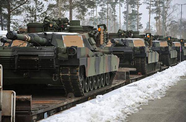 <figcaption>These U.S. Army M1A2 Abrams tanks are part of the European Activity Set,  a combined-arms battalion-sized set of vehicles and equipment pre-positioned  at Germany's Grafenwoehr Training Area.</figcaption>