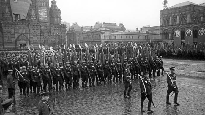 <figcaption>The Victory Parade held in Moscow's Red Square on June 24, 1945 to mark the defeat of Nazi Germany in World War II, which lasted from 1939 until 1945.</figcaption>