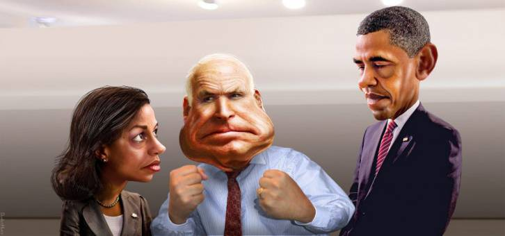 <figcaption>Neocon criminal Susan Rice with fellow imperialists McCain and Obama, as seen by artist DonkeyHotey, via flickr.</figcaption>