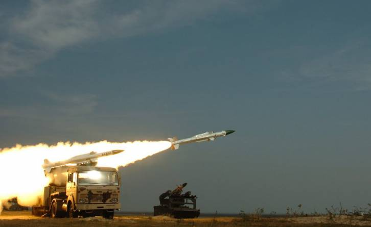 <figcaption>Akash missile being test fired</figcaption>