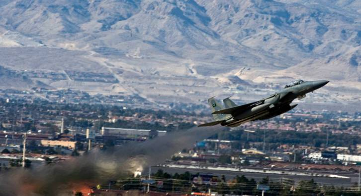 <figcaption>A Royal Saudi Air Force F-15 Strike Eagle departs for a training mission over the Nevada Test and Training Range during Red Flag 12-2 Jan. 27, 2011, at Nellis Air Force Base, Nev. </figcaption>