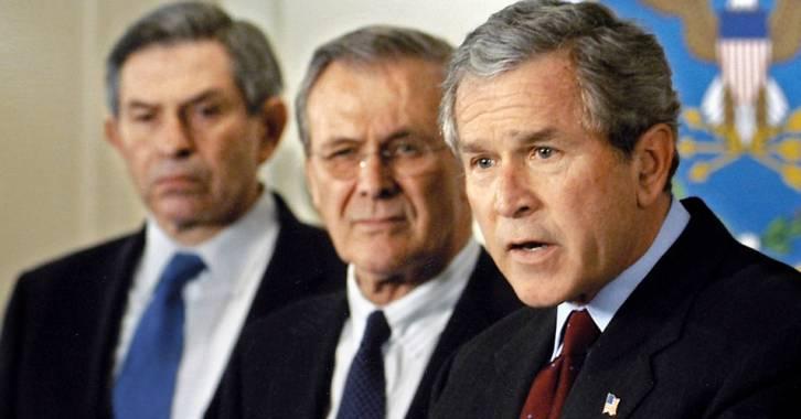 <figcaption>Wolfowitz, Rumsfeld, Bush - the good old days</figcaption>