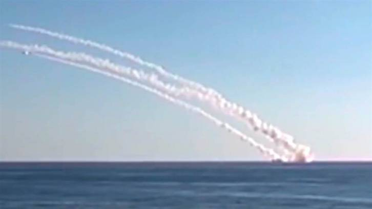 <figcaption>Russian cruise missiles being fired recently from the Mediterranean to Syria</figcaption>