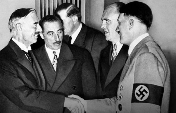 <figcaption>At the signing of  'the Hitler-Chamberlain Pact' on 30th September 1938</figcaption>